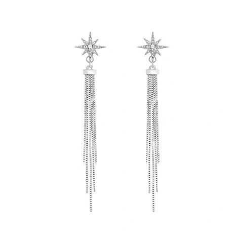 Star and Tassel Long Earrings