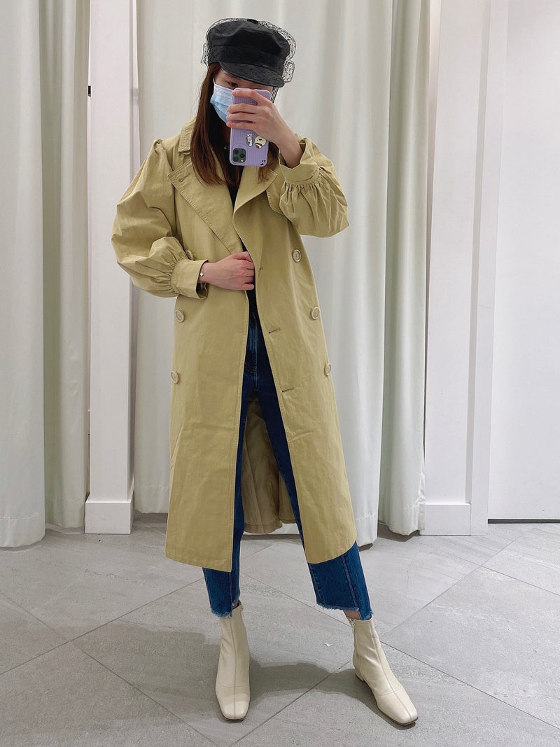 Double-breasted Trench Jacket with Balloon Sleeves