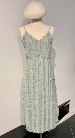 Feather Lace V-neck Long Dress