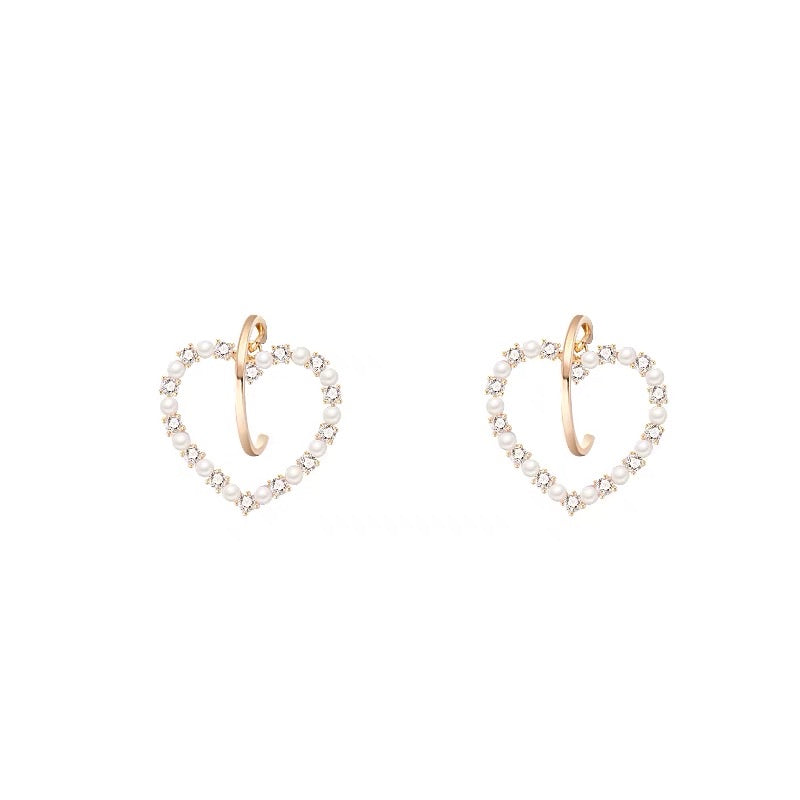 Rhinestones and Pearls Heart Earrings