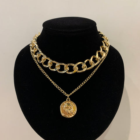 Two-layered Big Chain and Coin Necklace
