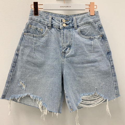 Distress Boyfriend Denim Shorts