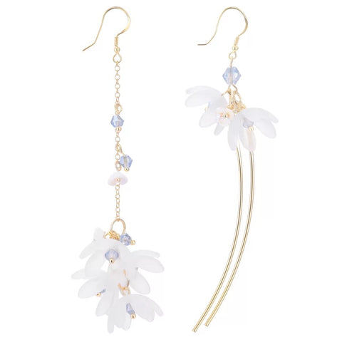 Asymmetrical Acrylic Flower Long Earrings