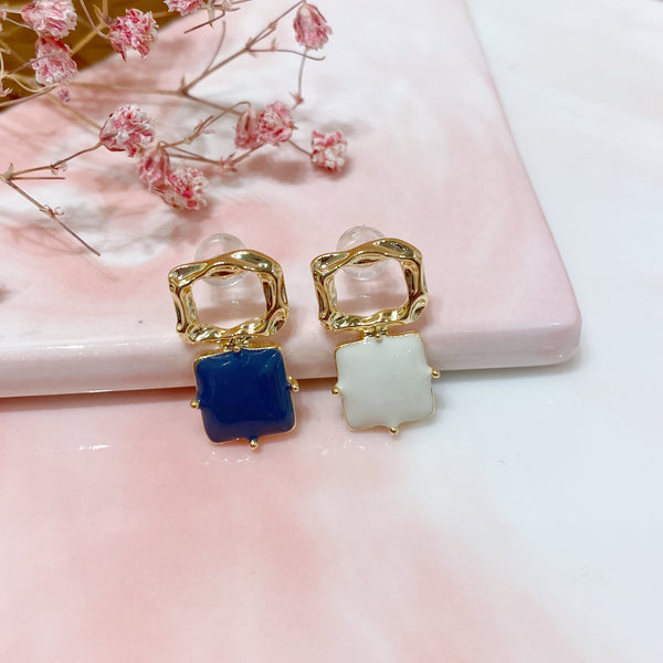 Blue and White Squares Earrings