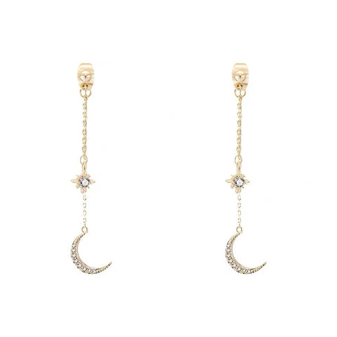 Star and Moon Long Earrings
