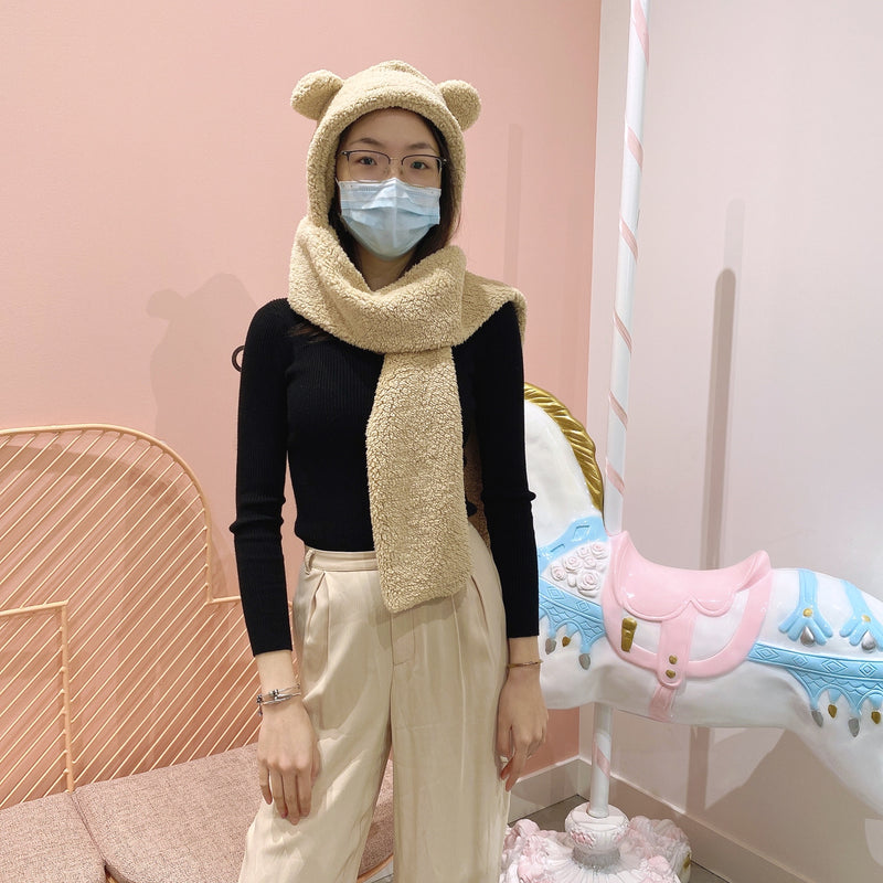 Teddy Bear Hood Scarf