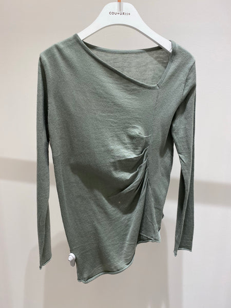 One Side Slanted Knit Top