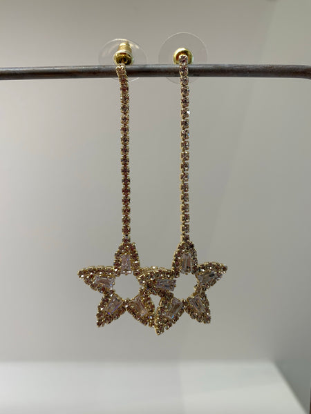 Big Rhinestone Star Pendant Long Earrings