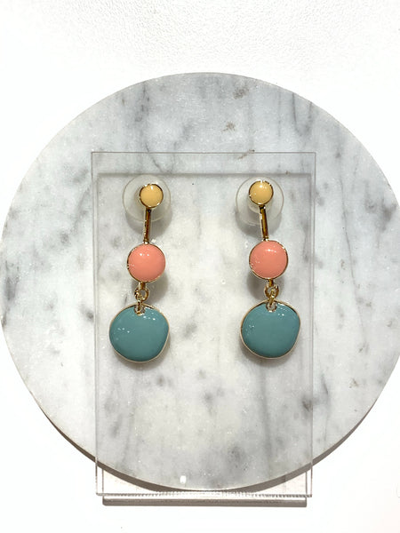 Three Colorful Rounds Earrings