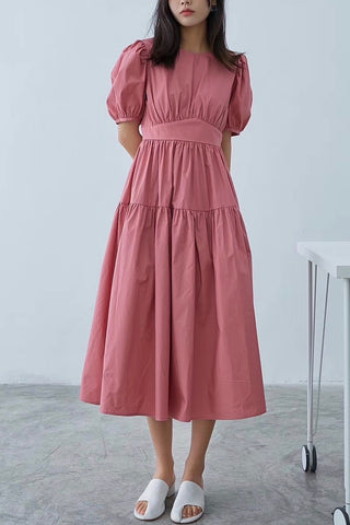 Puffy Short Sleeves Midi Dress
