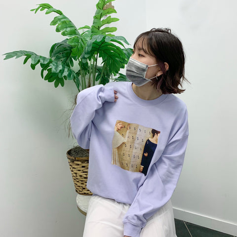 Oversized Front Painting Print Sweatshirt