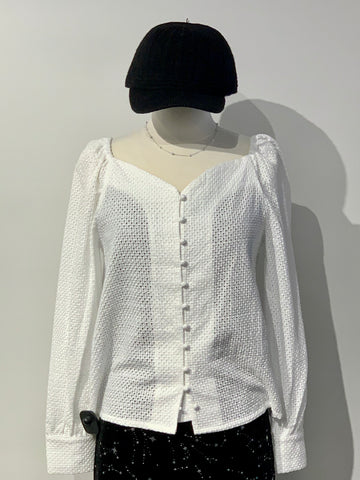Heart Shape Neckline Lace Top with Front Buttons
