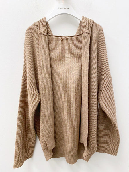 Oversized Ribbed Knit Open Cardigan with Hood