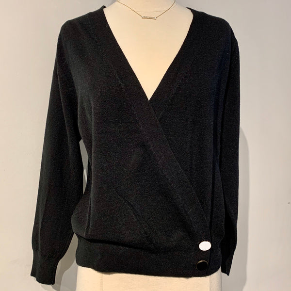 V-neck Cardigan with Bottom Side Buttons