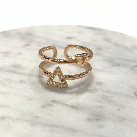 Two-layered Triangles Ring