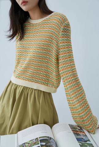 Colorful Stripe Knit Sweater