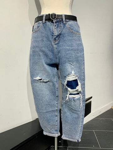 High-waisted Straight Leg Jeans with Big Distress