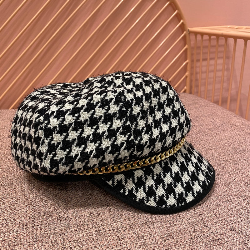 Houndstooth Octagonal Hat with Chain