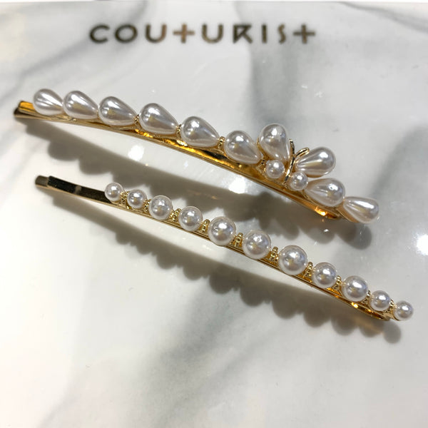 Assorted Pearls Hair Clip Set of Two