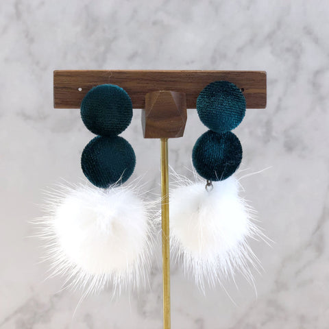 Velvet Buttons with Fur Ball Earrings