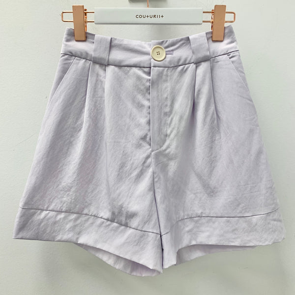 High-waisted Front Pleated Flare Shorts