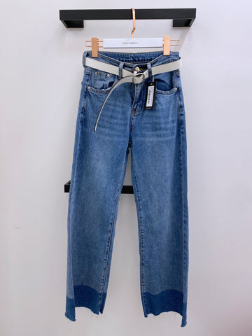 Contrasting Cuff Wide Leg Jeans with Belt