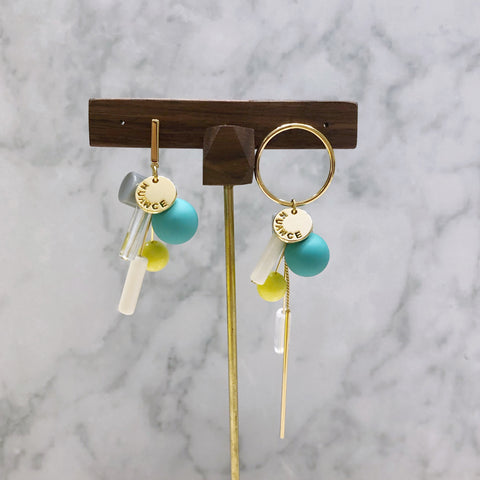 Asymmetrical Balls and Bars Earrings