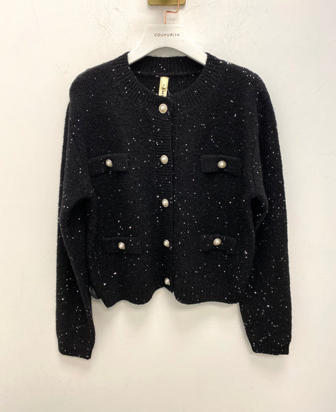 Sequin Knit Button Up Cardigan