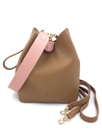 Solid Color Bucket Bag with Contrasting Strap