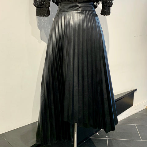 Pleated Leather Skirt with Asymmetrical Hem