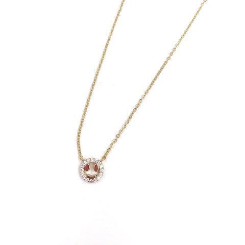 Rhinestone Smile Face Necklace