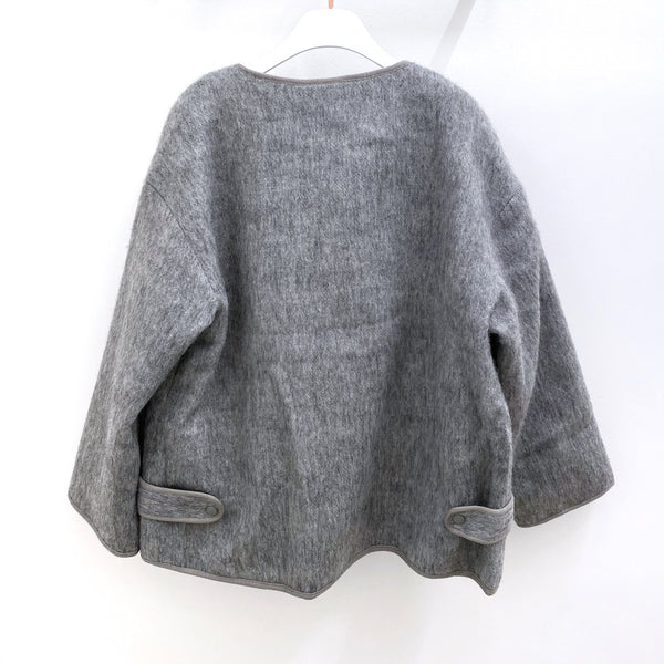 Oversized Crewneck Wool Jacket with Two Front Pockets
