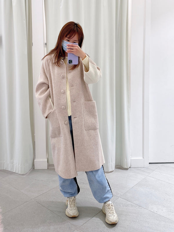 Oversized Two-tone Single Breasted Wool Coat