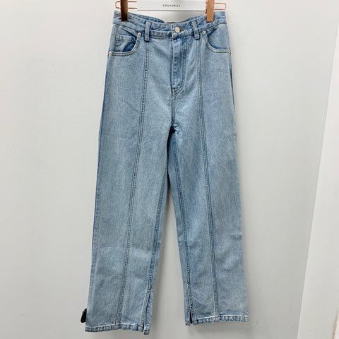 Front Seam Relax Straight Leg Jeans with Slits