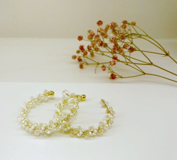 White and Transparent Beads Twisted Hook Earrings
