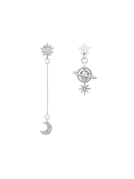 Asymmetrical Stars, Moon and Planet Earrings