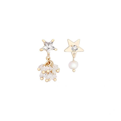 Asymmetrical Rhinestone Stars Earrings