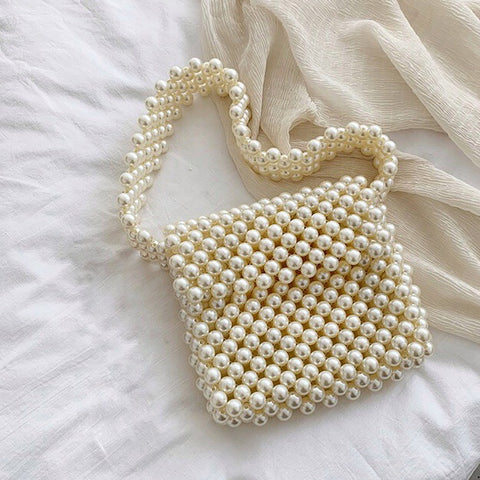 Wide Strap Pearl Shoulder Purse