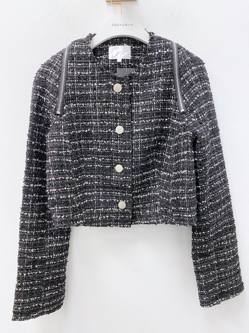 Crewneck Tweed Jacket with Zipper