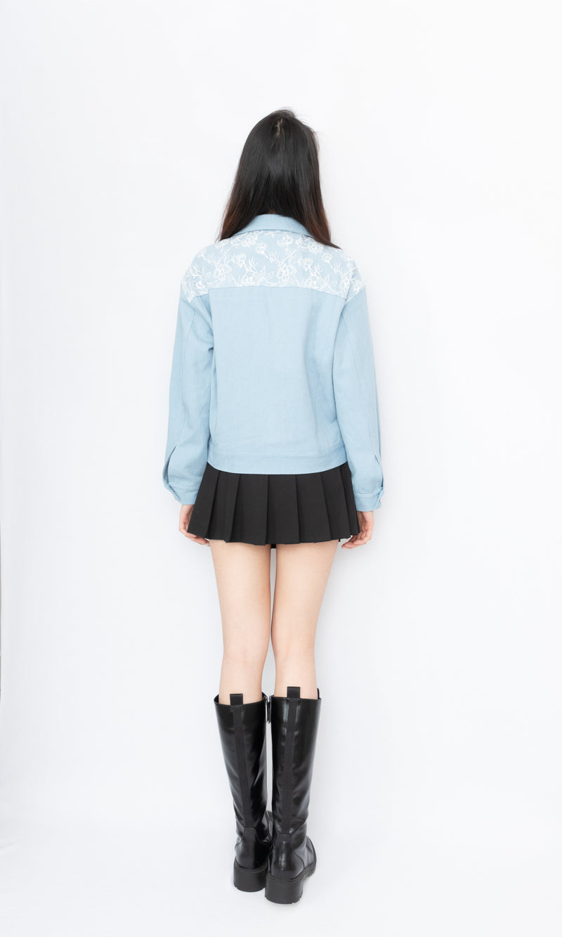 Lace Panel Denim Jacket
