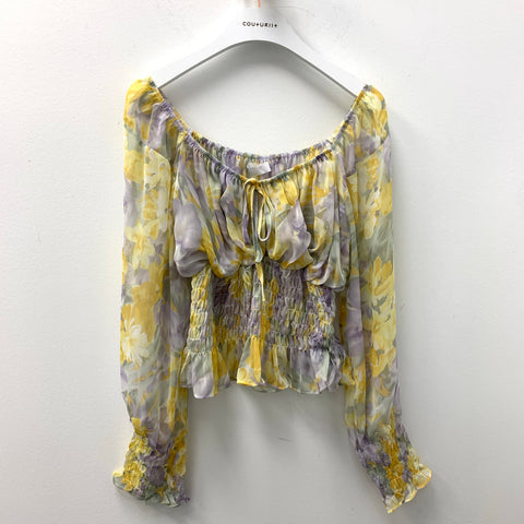 V-neck Floral Blouse with Smock Waist