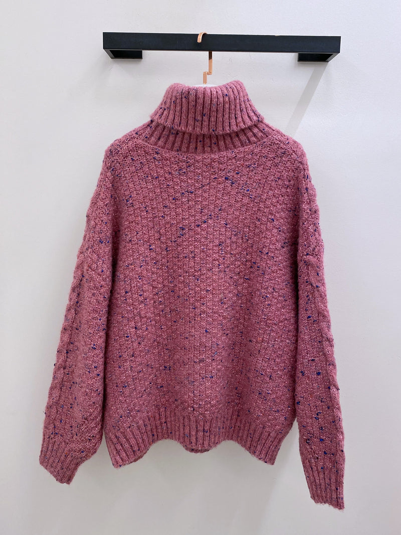 Oversized Sparkly High Neck Sweater