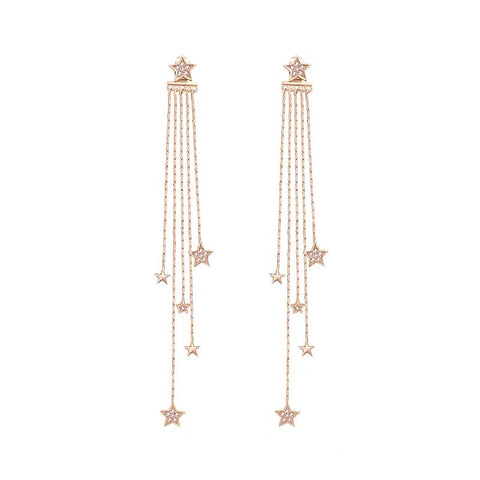 Rhinestone Stars Long Tassel Earrings