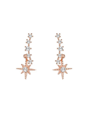 Rhinestone Curve and Starburst Earrings