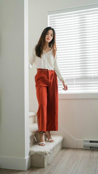 Contrasting Side Edge Wide Leg Pants