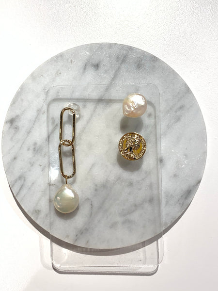 Asymmetrical Pearl and Coin Earring Set