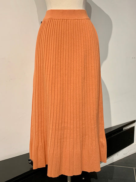 Flare Pleated Knit Midi Skirt