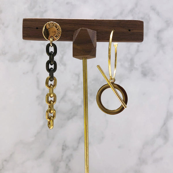Asymmetrical Chain and Circle Earrings