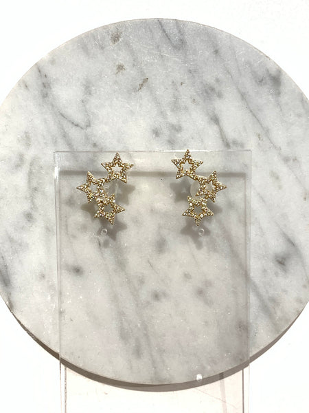Triple Rhinestone Stars Earrings