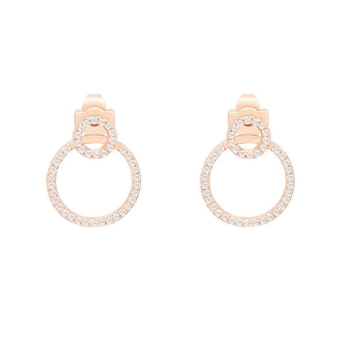 Two Rhinestone Circles Earrings